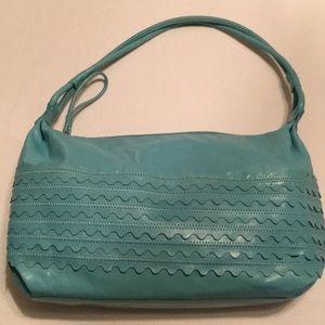 Sigrid Olsen blue leather shoulder bag
